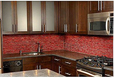 red and yellow bijou kitchen backsplash tiles